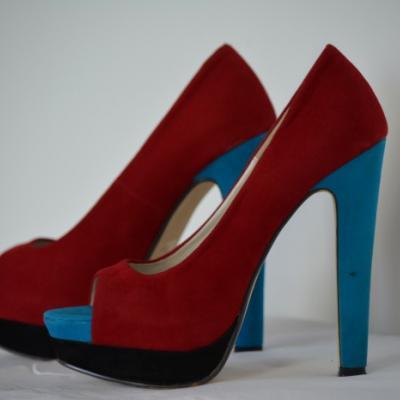 Ball / Schuhe / High Heels Gr.39 /Rot Blau Schwarz - thumb