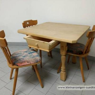 Stubentisch / Holztisch (92x92cm) und Stühle - thumb