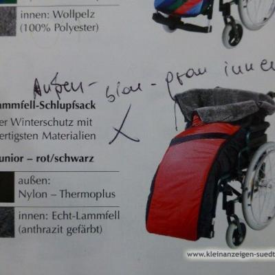 Rollstuhl Echt-Lammfell-Schlupfsack für Winter , - thumb