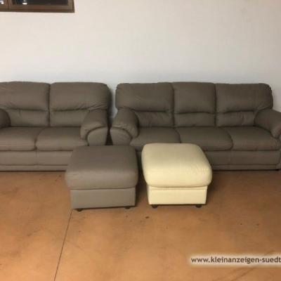 Couch/ Divan - Garnitur aus echtem Leder - thumb