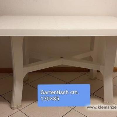 Gartentisch weiß, 130x85cm - thumb