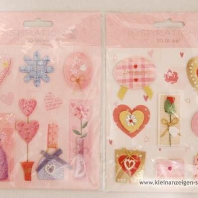 3D-Sticker Herzen und Blumen - thumb