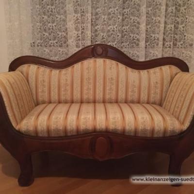 Sofa handgemacht aus Nussbaum Holz dunkel - thumb