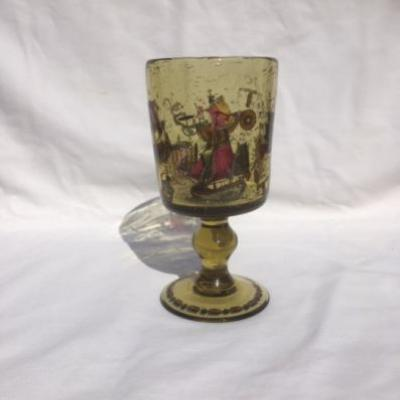 Antikes Glas mit Schiffdarstellung - thumb