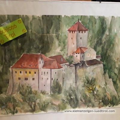 Aquarell Schloss Tirol    100€ - thumb