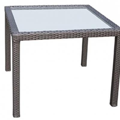 Polyrattan Tisch (schwarz) mit Glasplatte - thumb