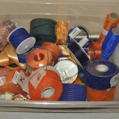 Geschenkbänder und Bastelbänder verschiedene Farben, orange, blau, cre - thumb