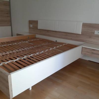 Großes Bett weiß/Santana Eiche - thumb