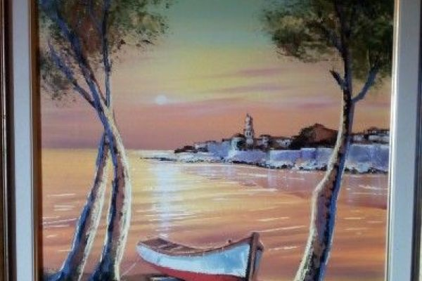 Sonnenuntergang acryl mit Boot