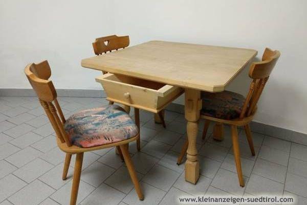 Stubentisch / Holztisch (92x92cm) und Stühle