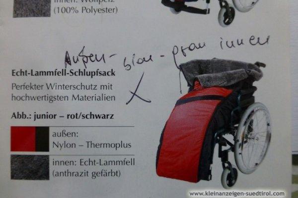Rollstuhl Echt-Lammfell-Schlupfsack für Winter ,