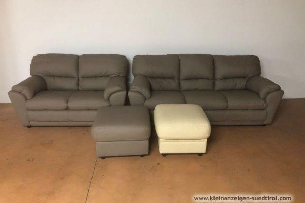 Couch/ Divan - Garnitur aus echtem Leder