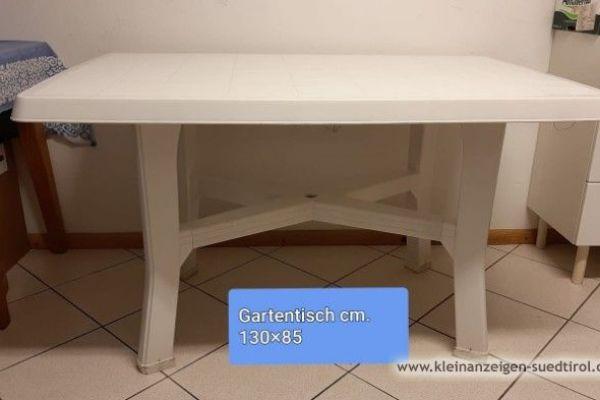 Gartentisch weiß, 130x85cm