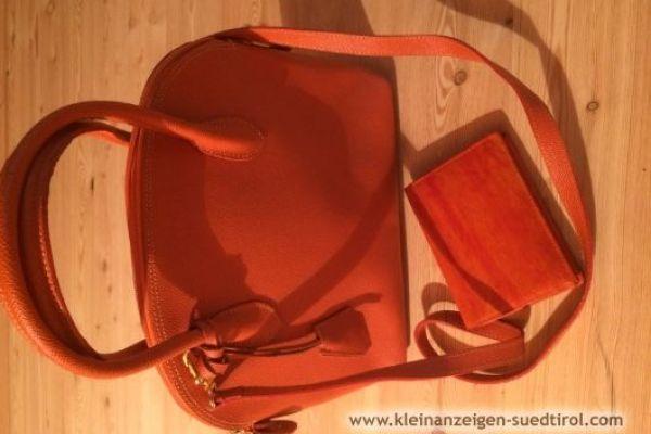 Ledertasche orange mit Geldbörse neuwertig