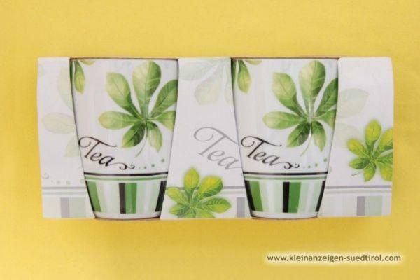 Grün/weiße Teetassen