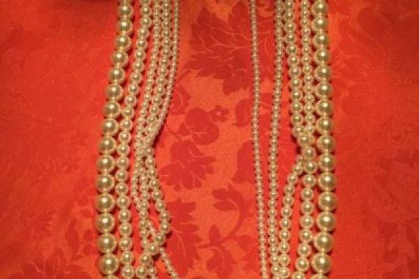Extravaganter Modeschmuck 5- reihige Perlenkette