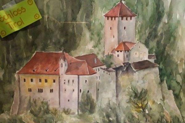 Aquarell Schloss Tirol    100€