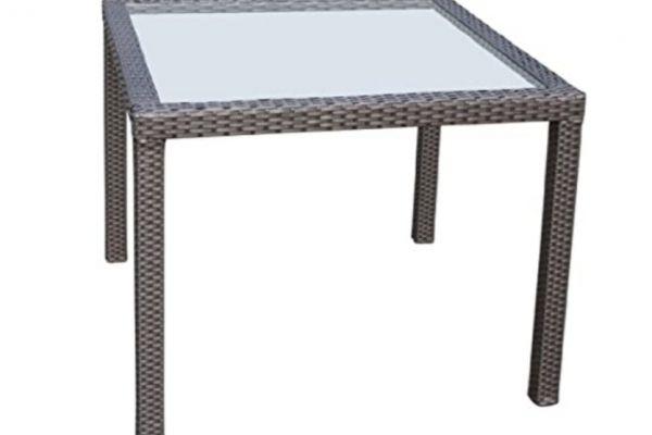 Polyrattan Tisch (schwarz) mit Glasplatte
