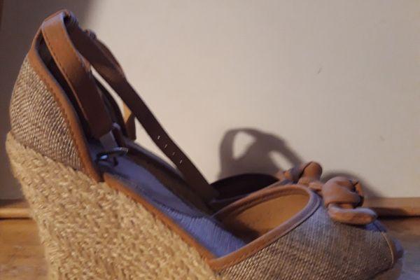 Kork-Sandalen beige Gr. 40