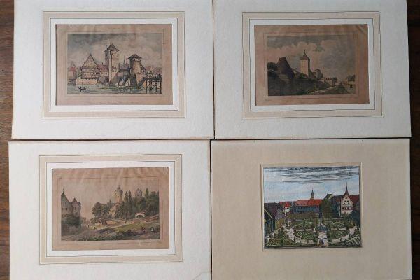 7 Kupferstiche - Motive aus Franken