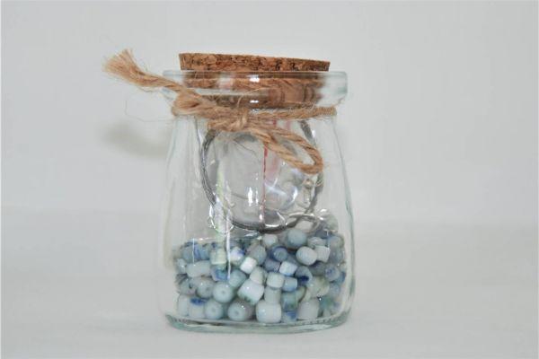 Perlen im Glas  in blau