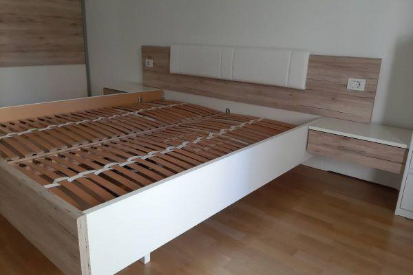 Großes Bett weiß/Santana Eiche
